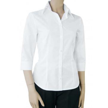 Chaud Devant Dames Wit Stretch 3/4 Sleeve Blouse