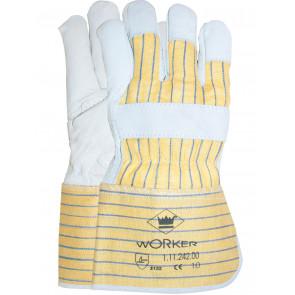 Nerflederen werkhandschoen met gerubberiseerde kap en palmversterking