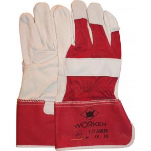Nerflederen werkhandschoen met gerubberiseerde rode kap