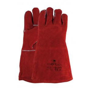 Laswerkhandschoen van rood splitleder