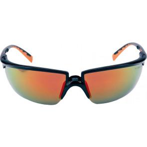 3M Solus veiligheidsbril met optimale pasvorm, gezichtsveld en bescherming (zwart/oranje montuur en weerspiegelende coating)