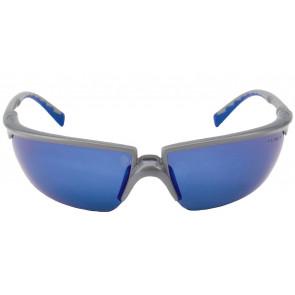 3M Solus veiligheidsbril met optimale pasvorm, gezichtsveld en bescherming (grijs/blauw montuur en weerspiegelende coating)