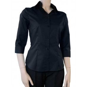 Chaud Devant Dames Zwart Stretch 3/4 Sleeve Blouse