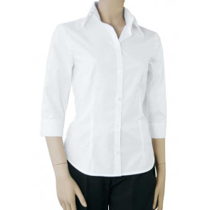 Chaud Devant Dames Wit Stretch 3/4 Sleeve Blouse